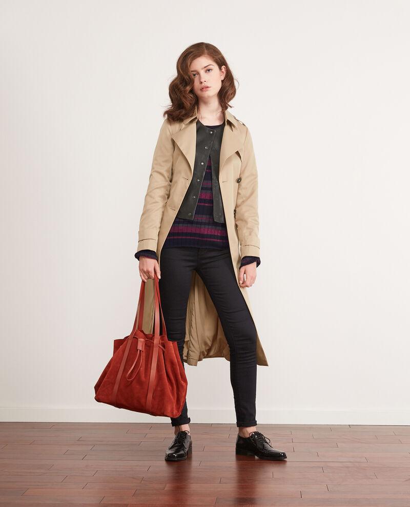 Ribbed wool jumper with high shine lurex inlay Dark navy/gris fonce/purple Diademe
