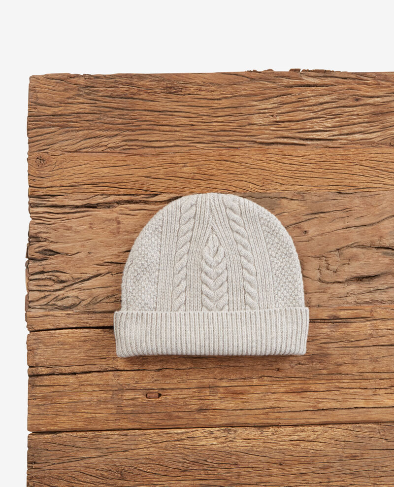 100% wool cable knit beanie Light grey Dennie