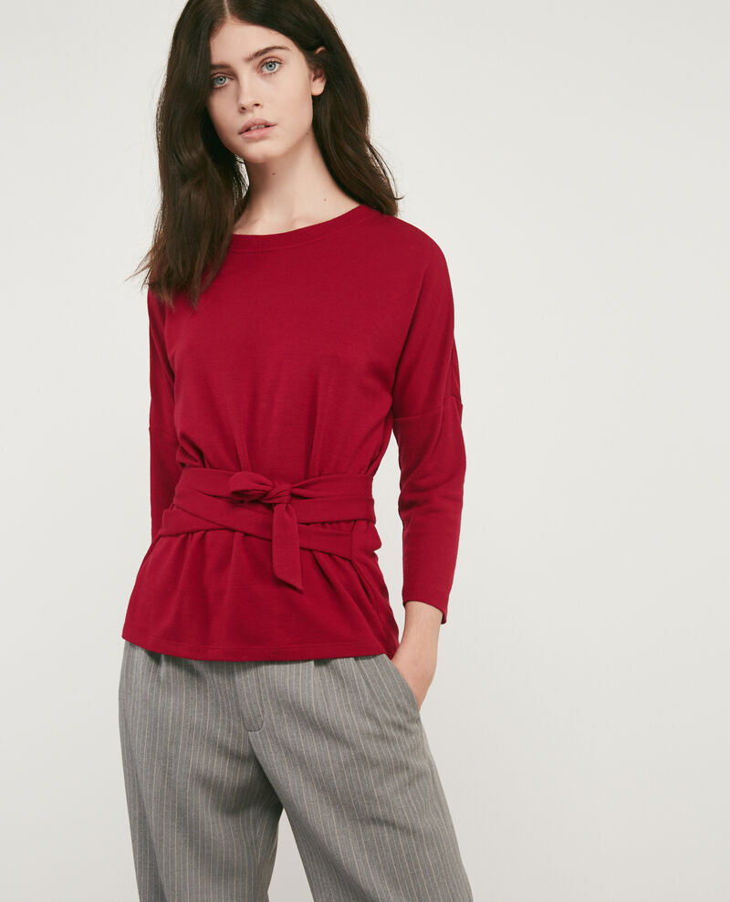 Wool blend belted sweater DEVIL