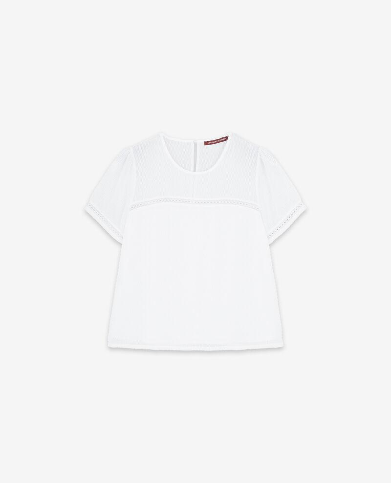 Textured Swiss dot top Blanc Djibouti