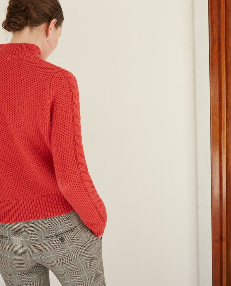 Wool jumper with braid detail Pompeian red Garouk