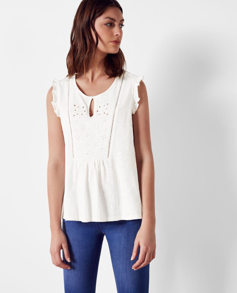 Frilly embroidered t-shirt Off white Chacha