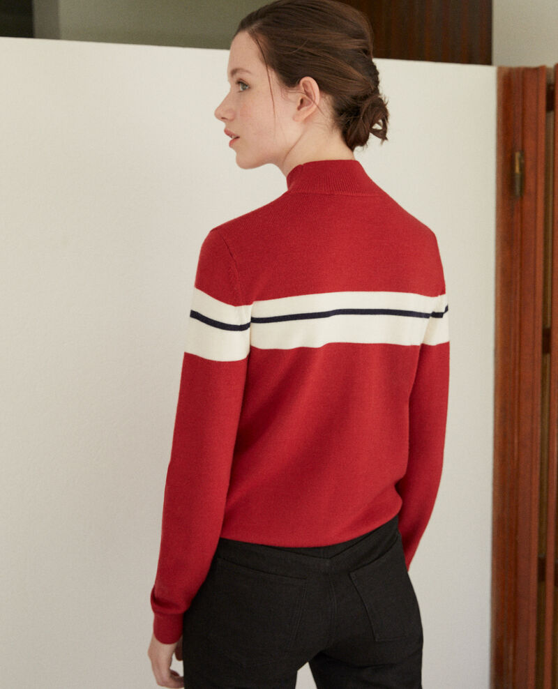 Merino wool jumper Rio red/off white/peacoat Gligne