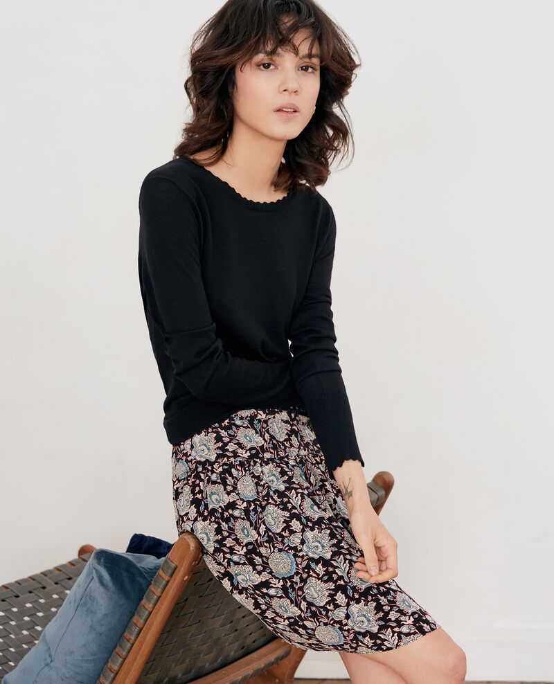 Printed silk skirt DARJEELING BLACK