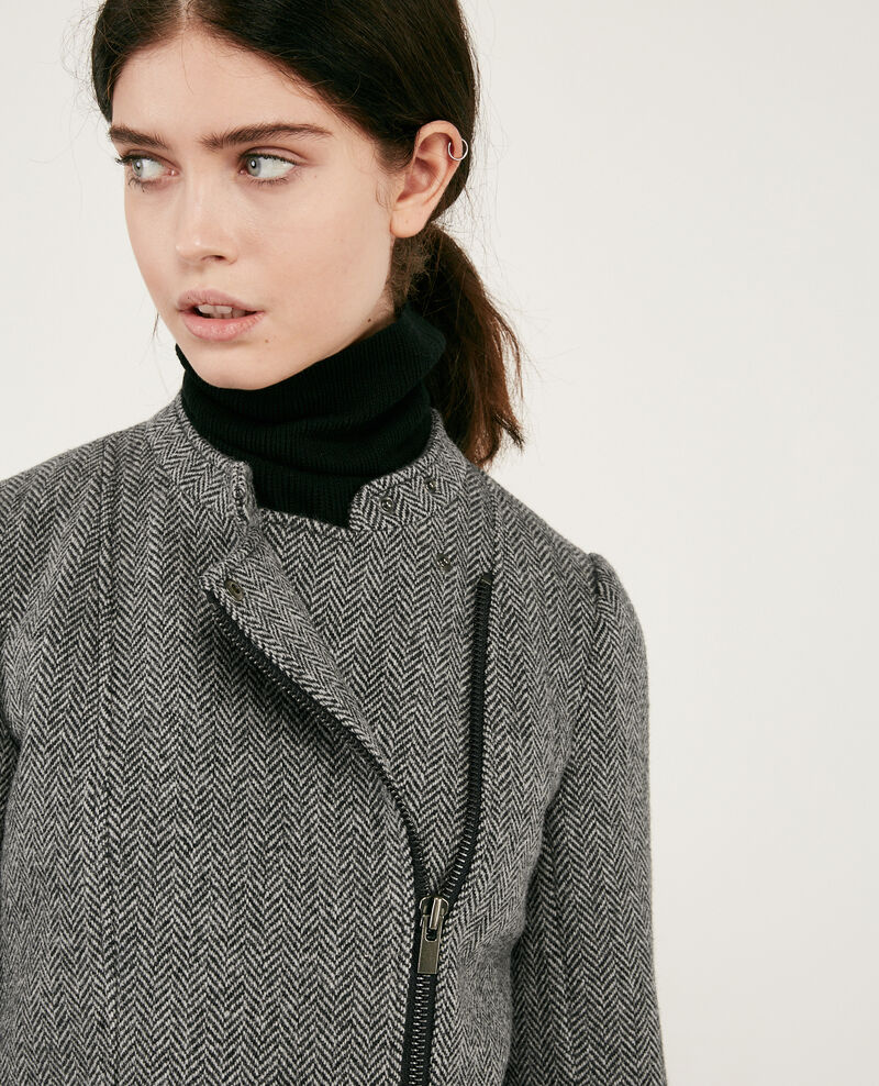 Wool tweed-style biker jacket Medium heather grey Drible
