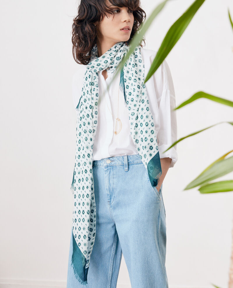 Printed scarf in modal and linen Dandelion kaolin Fandelion