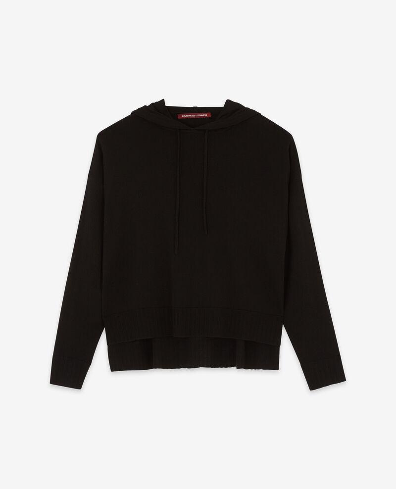 Thin wool jumper with hood Noir 9denferino