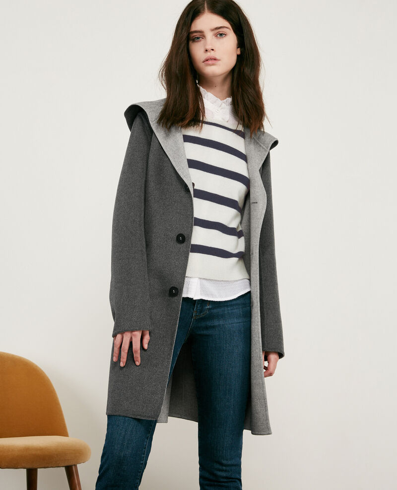Double-faced reversible wool coat Dark grey/light grey Darbin