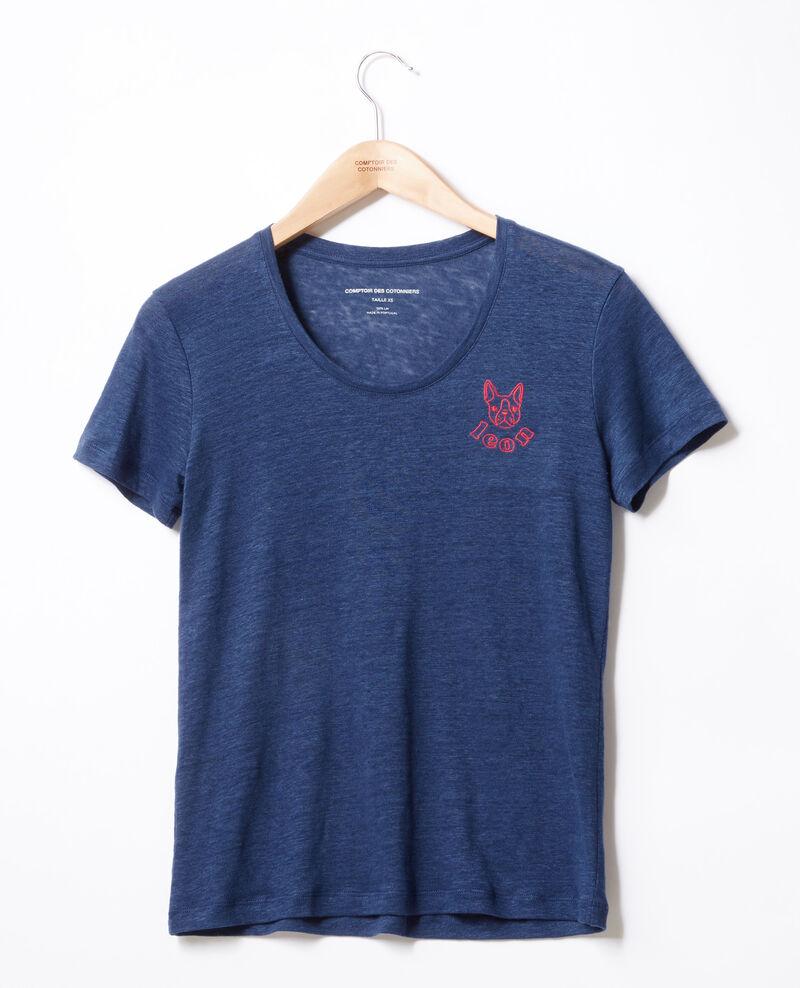 Embroidered Léon linen t-shirt Indigo/lollipop Folonga