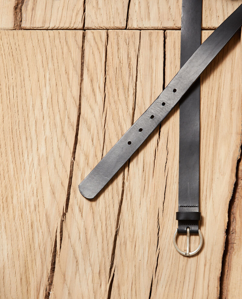 Smooth leather belt, small model Noir Girouette