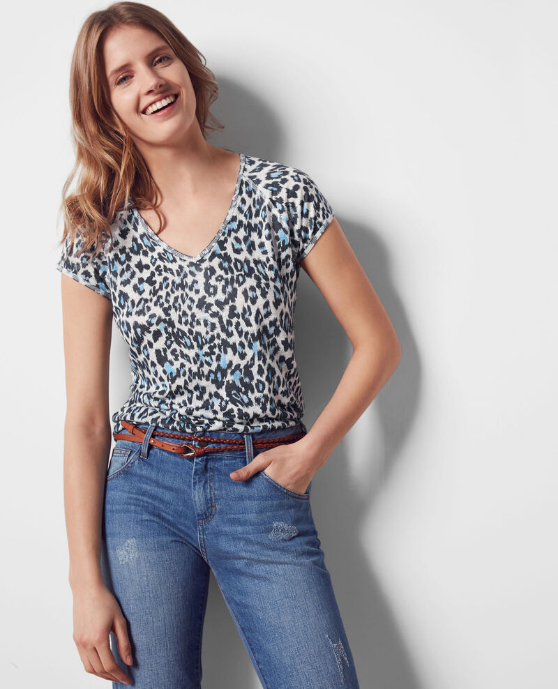 Linen print t-shirt Wild panthere Curacao