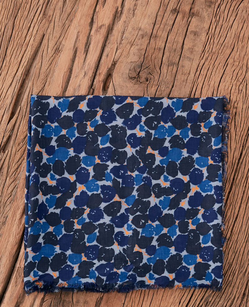 Printed scarf BLOSSOM SHADOW INDIGO