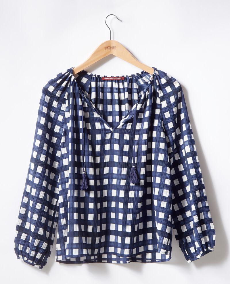 Printed blouse Ghingham navy Farine
