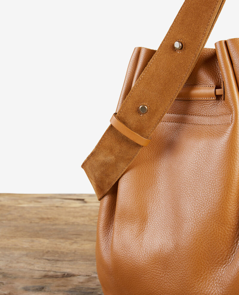Leather blend saddle bag Cognac Delphine