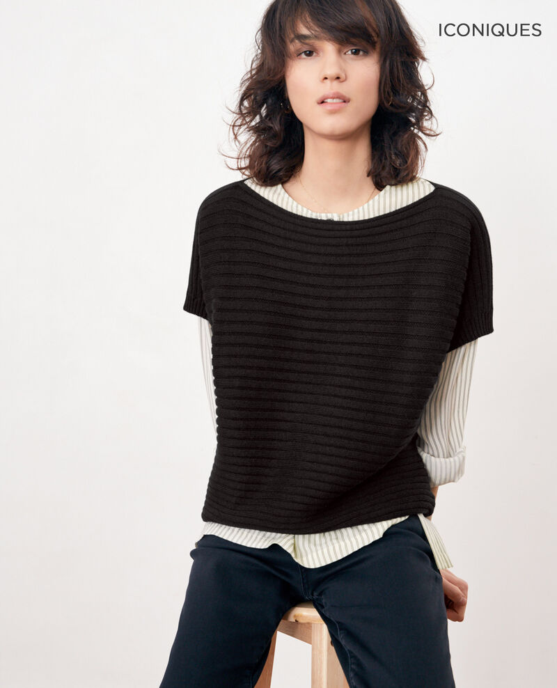 Short-sleeved seamless ribbed knit jumper Noir Falsi
