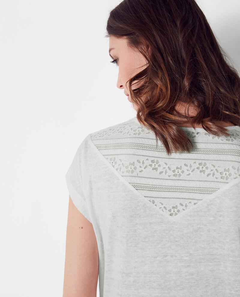 Linen t-shirt with lace insert Off white Choubidou