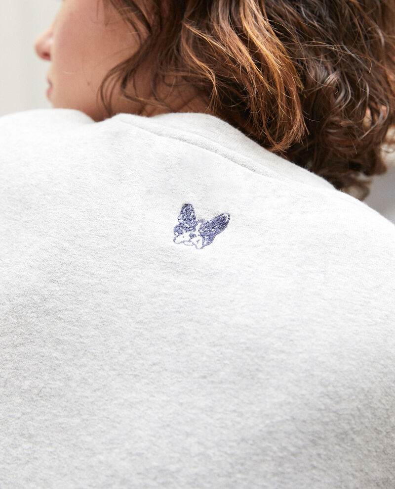 Embroidered Léon sweatshirt Chine grey/peacoat Gleon