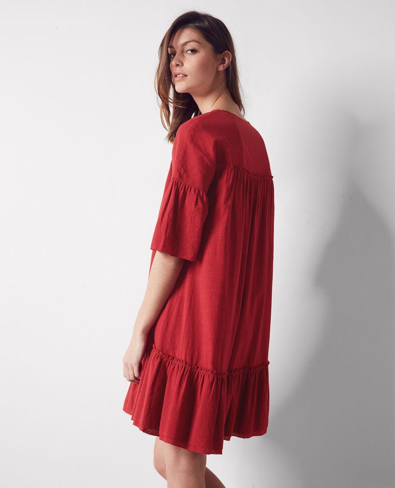 Loose dress with ruffles Raspberry Cindiana
