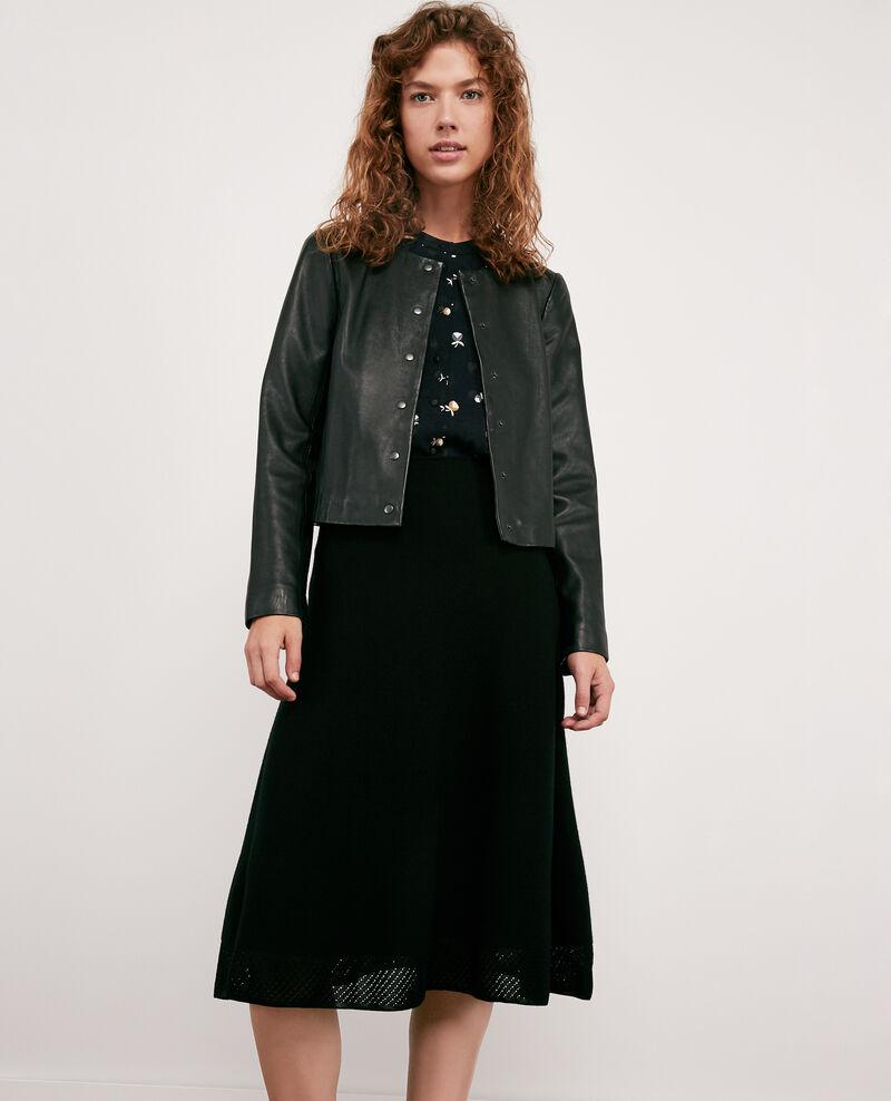 Seam-free 100% wool skirt NOIR