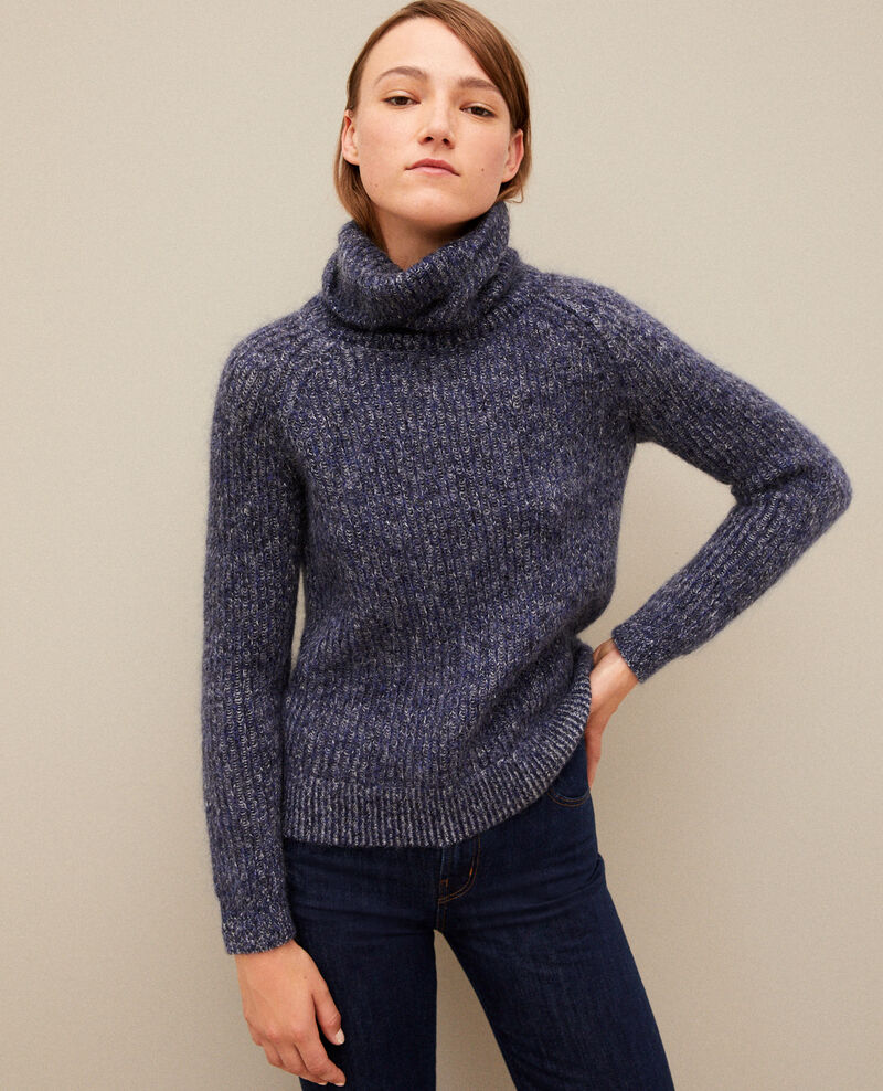 Mohair blend roll neck jumper MEDIEVAL BLUE/NOIR/OFF WHITE