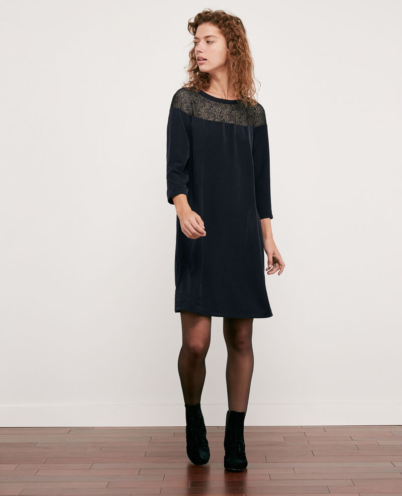 Satin and lace dress Navy Datillon