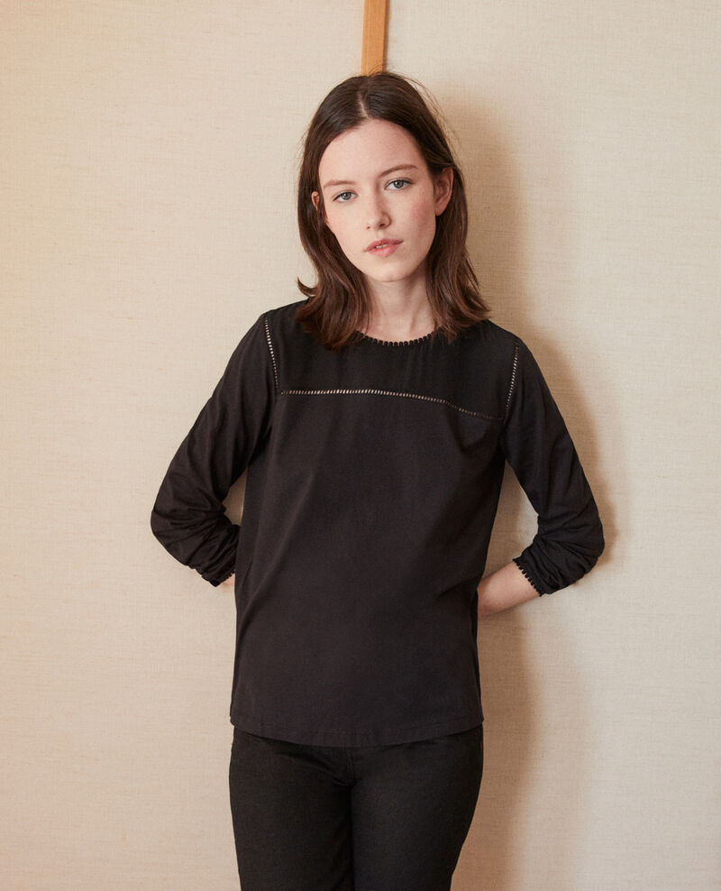 Bimaterial T-shirt with pompom details NOIR
