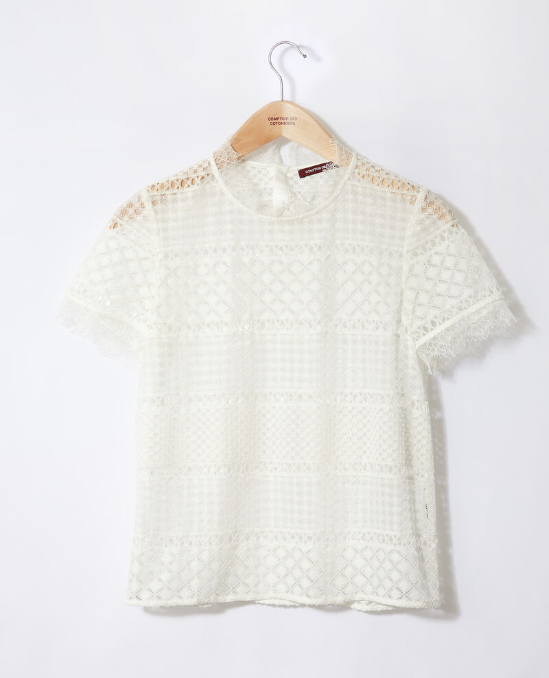 Openwork lace blouse Off white Garianelle