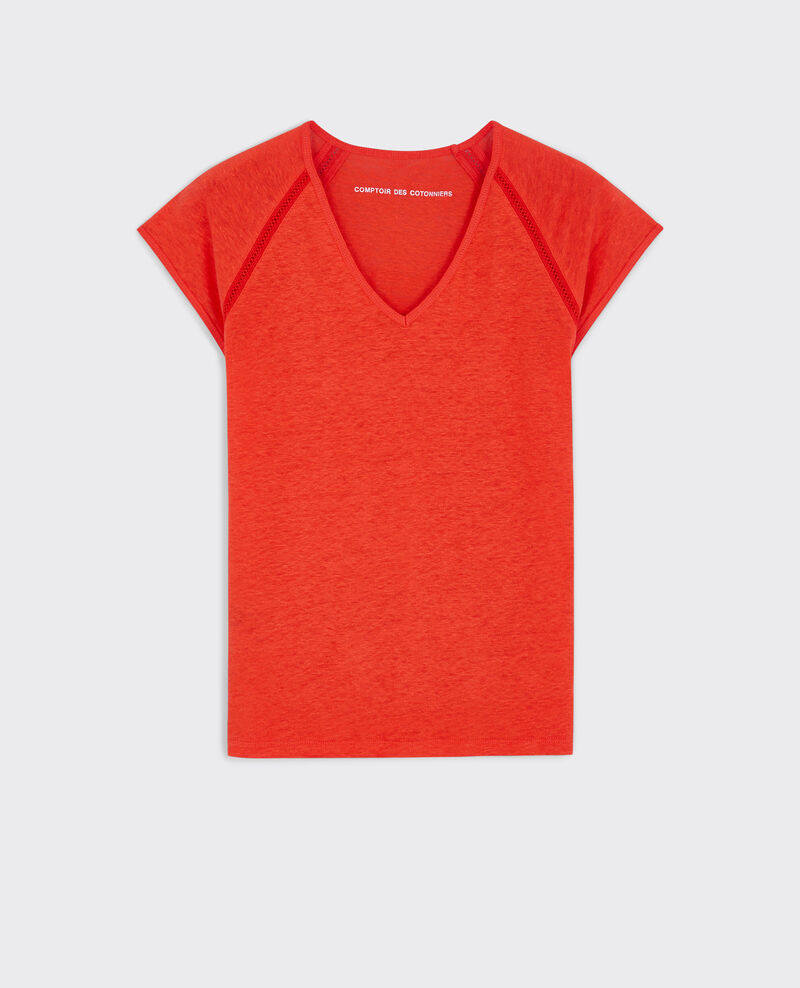 Linen t-shirt Candy apple Caramel