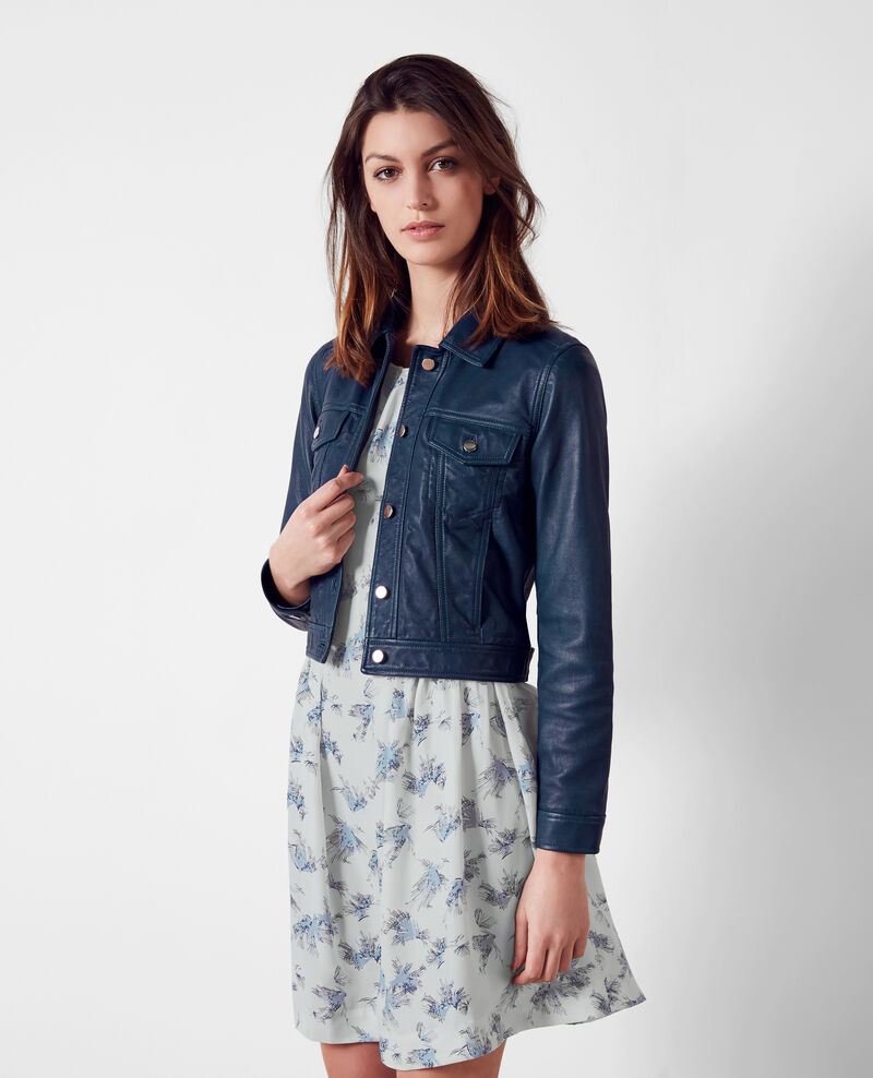 Short leather jacket, denim jacket style Indigo 9cablo