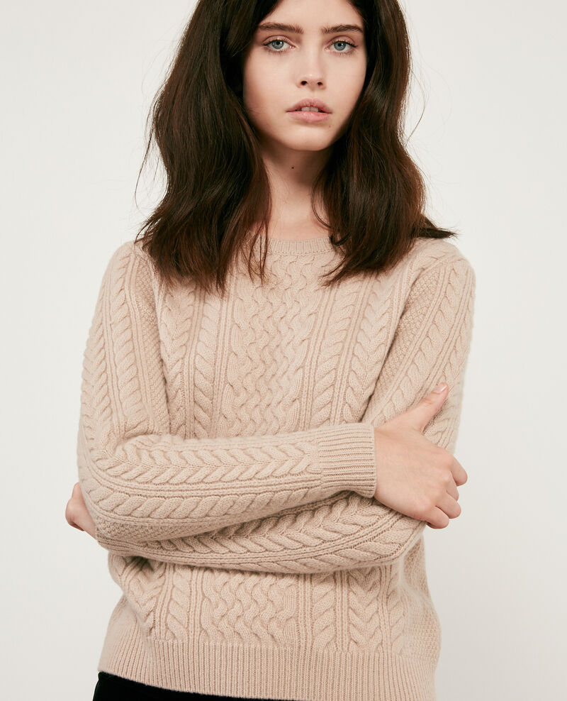 100% wool cable knit jumper BEIGE