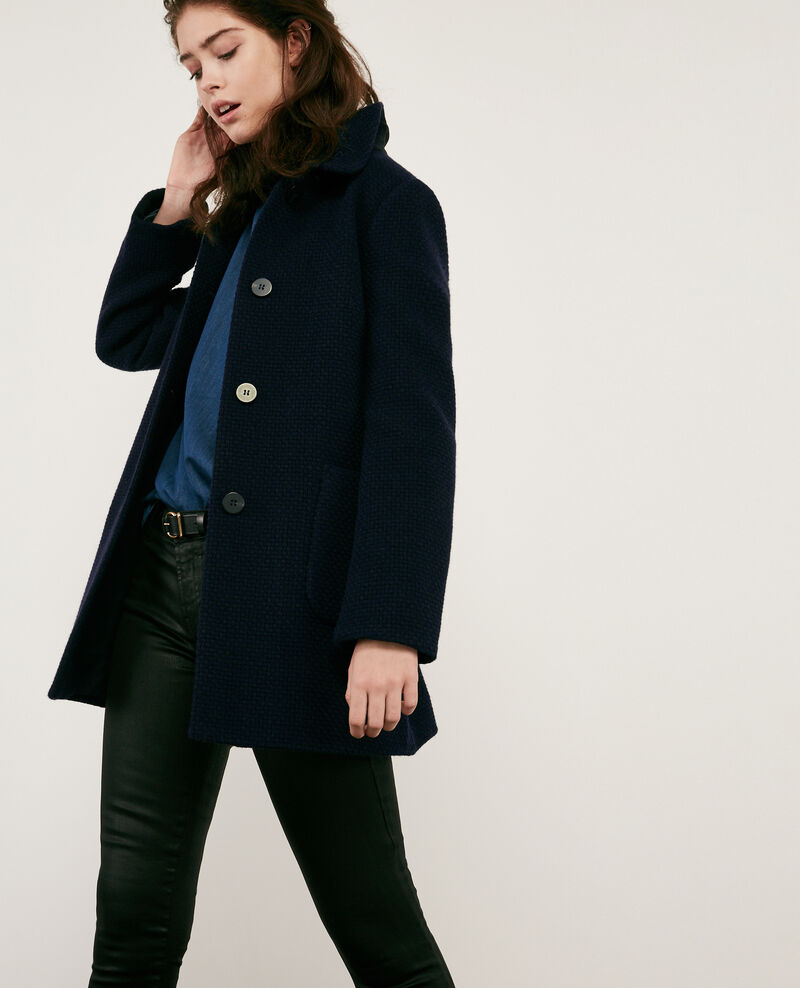 Wool blend tweed coat Navy Diarritzo