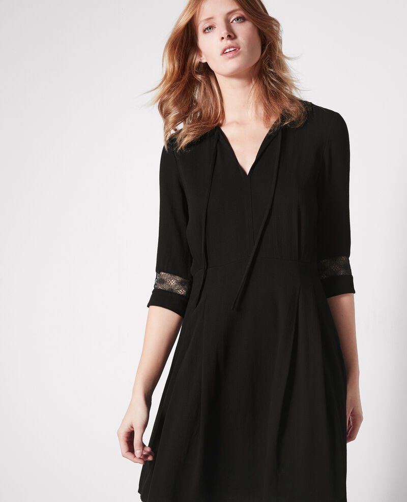 Lace detail dress Noir Catalogne