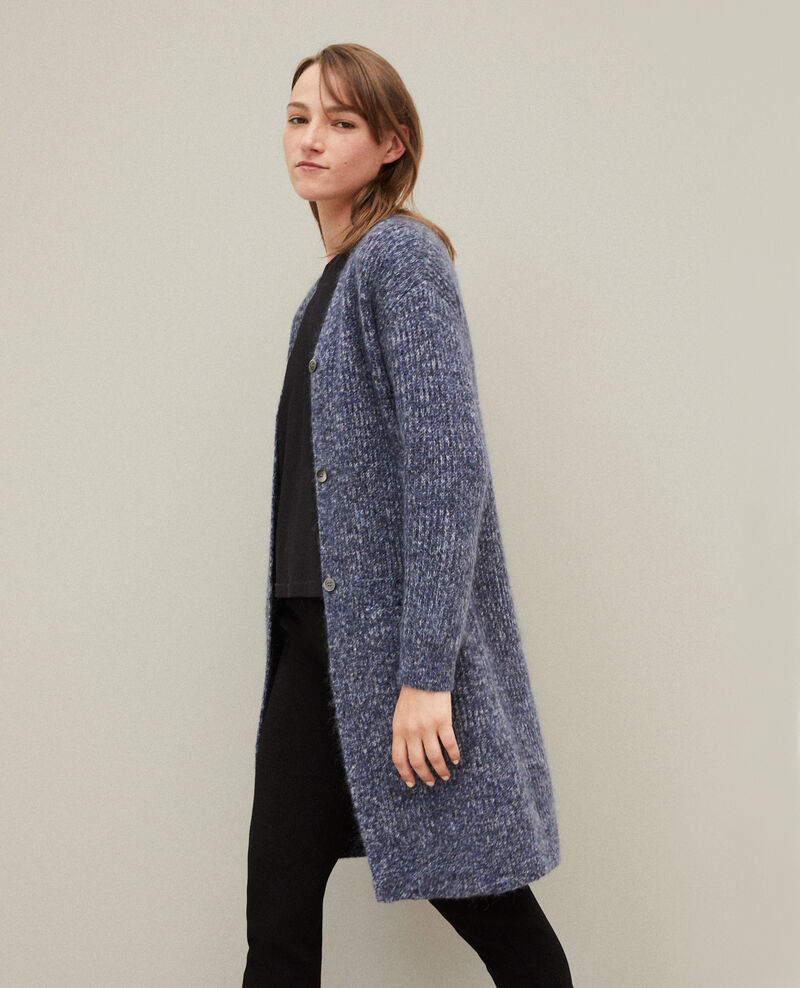 Mohair blend long cardigan MEDIEVAL BLUE/NOIR/OFF WHITE