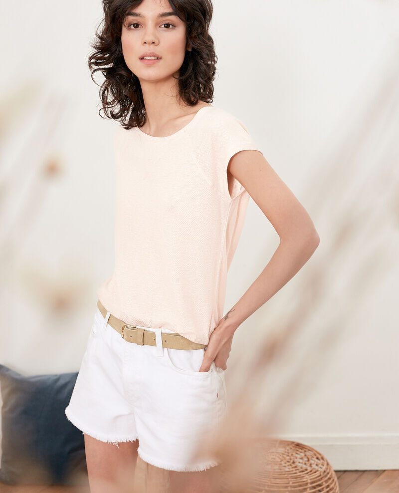 Iridescent T-shirt with linen Nude Falexia