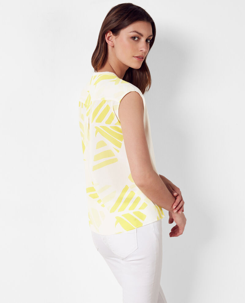 Bi-material top with printed silk back Banana leaves bouton d'or Cevran
