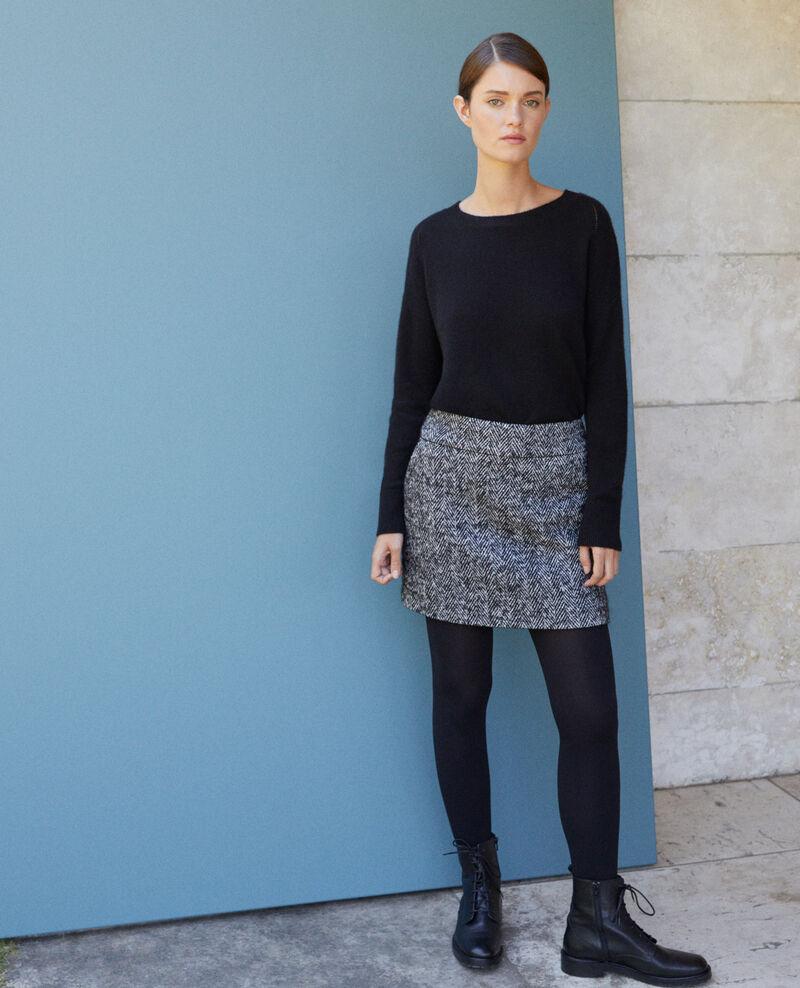 Herringbone mini skirt NOIR/OFF WHITE