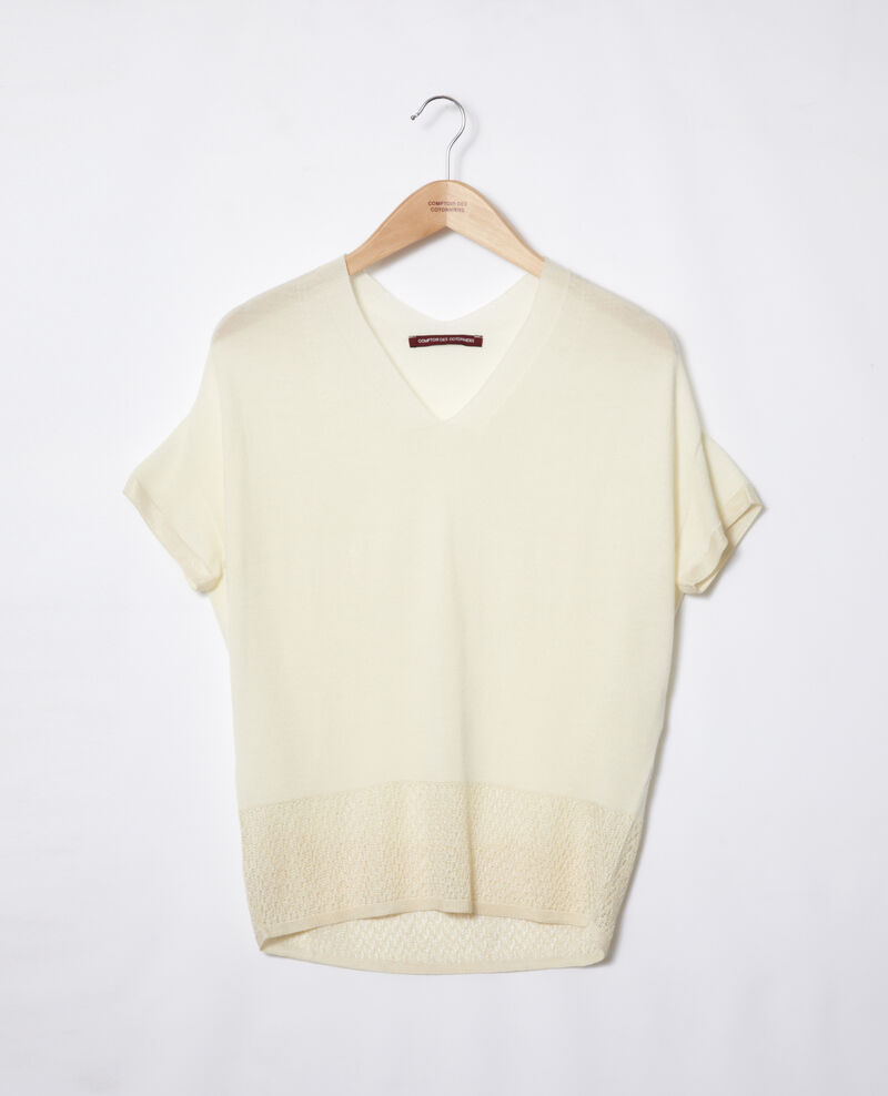 Zero-stitching short-sleeved knit OFF WHITE