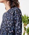 Printed linen T-shirt Blossom shadow indigo Fitoc