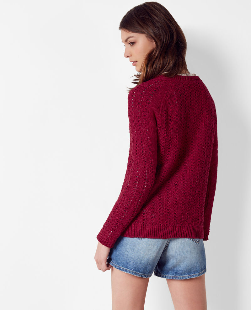 Openwork knit jumper Raspberry Calamar