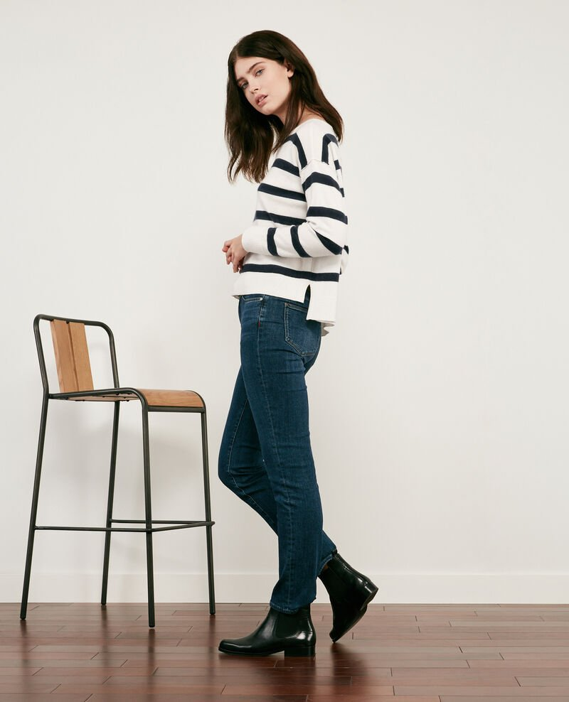 100% cashmere striped jumper Off white/navy Delamer