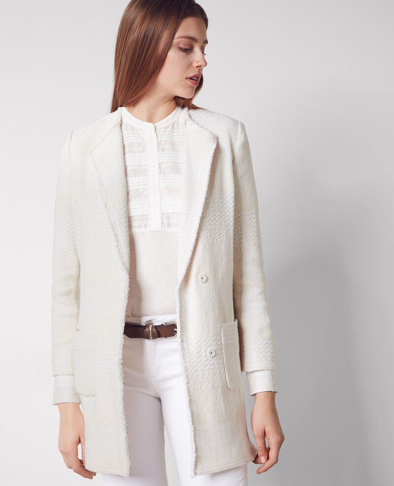 Half-length tweed coat Off white - Cabine | Comptoir des Cotonniers