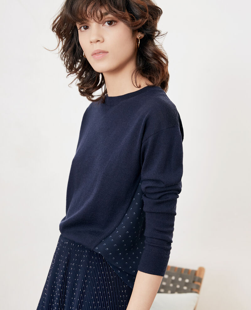 Bimaterial cardigan Ring dots marine Fripon