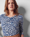 Fine-knit print jumper with cashmere Wild panthere Christian