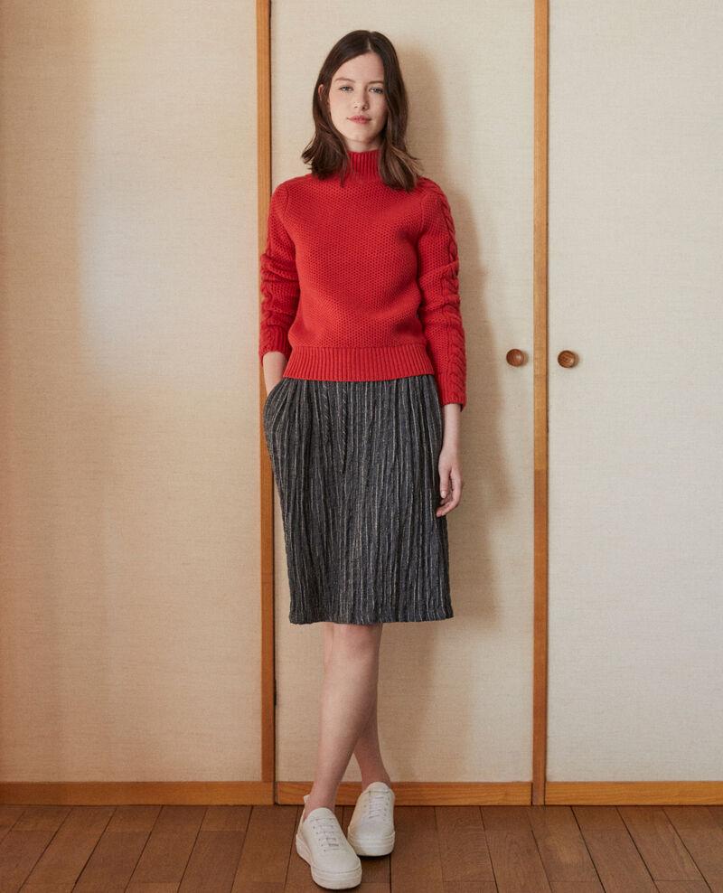 Crinkle effect pleated skirt PEACOAT/CLOUD DANCER