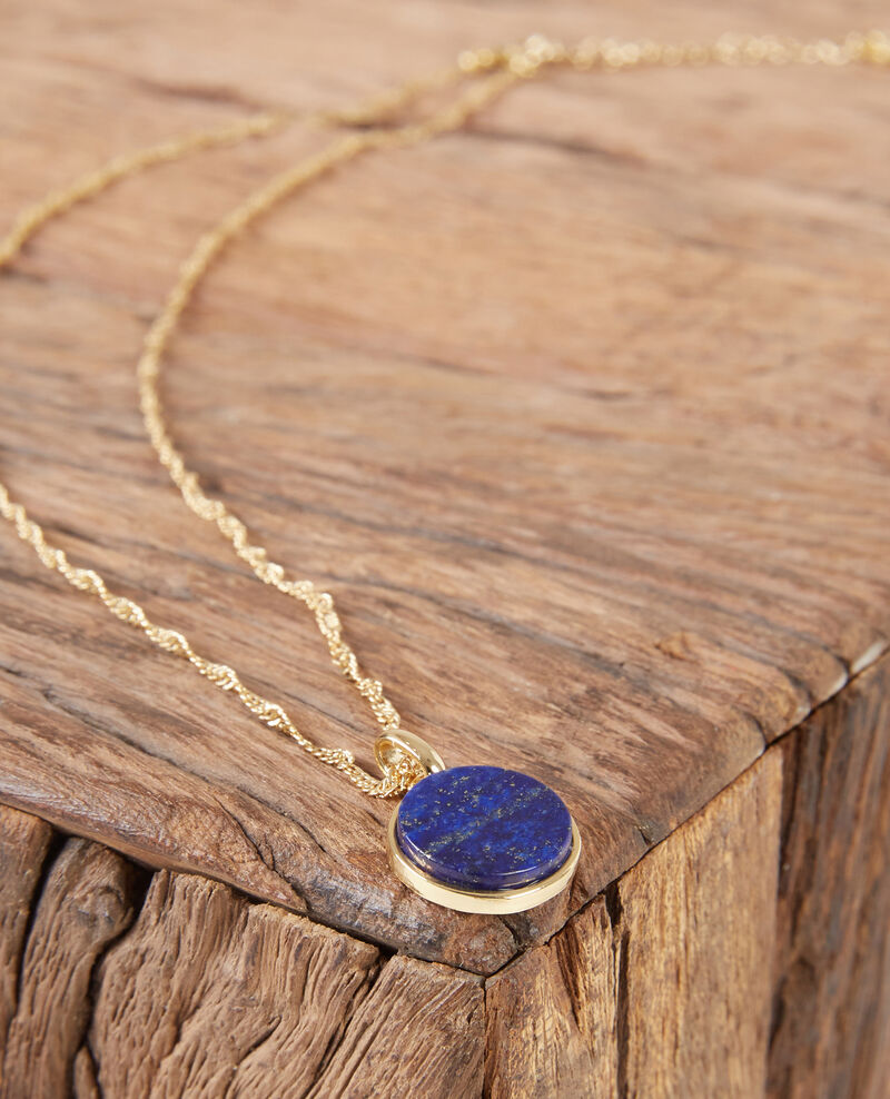 Necklace with round lapis lazuli pendant goldsapphire ducharms necklace with round lapis lazuli pendant goldsapphire ducharms mozeypictures Image collections