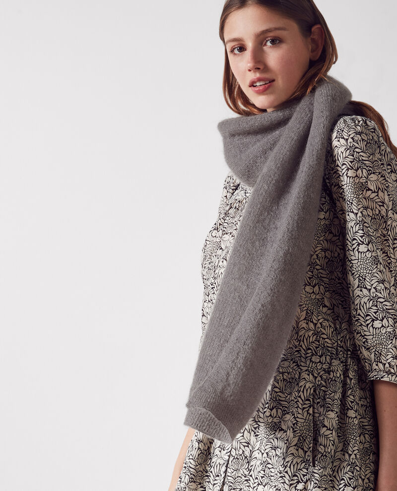 Mohair and wool scarf Iron grey Caniche