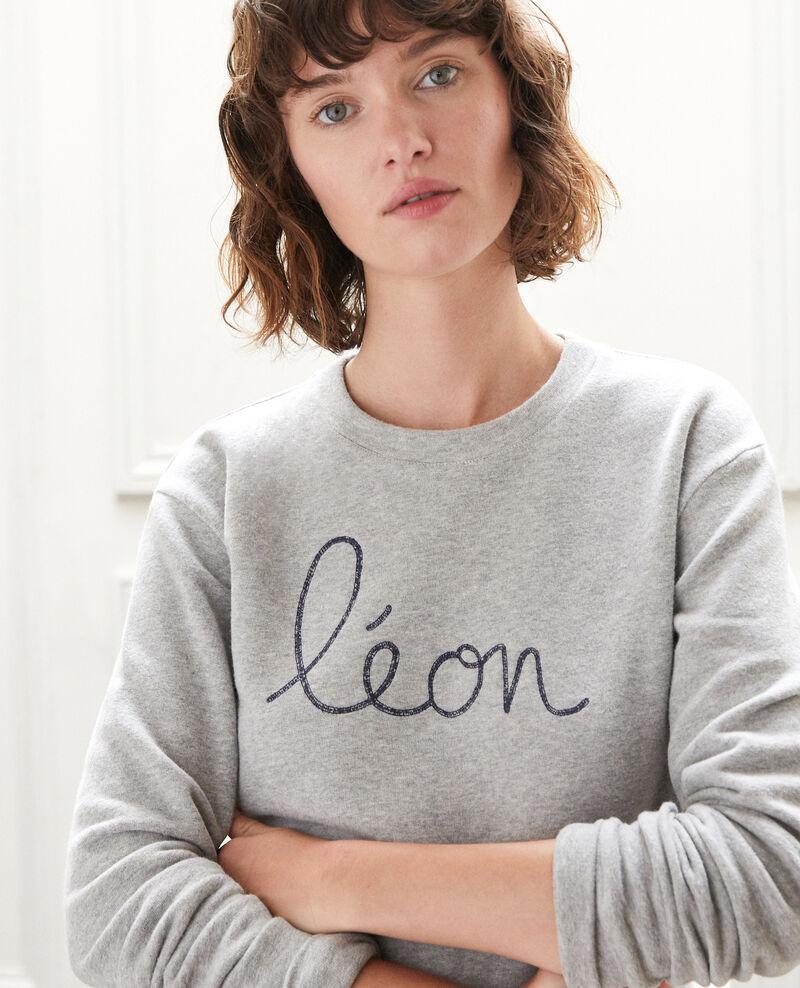 Embroidered Léon sweatshirt CHINE GREY/PEACOAT
