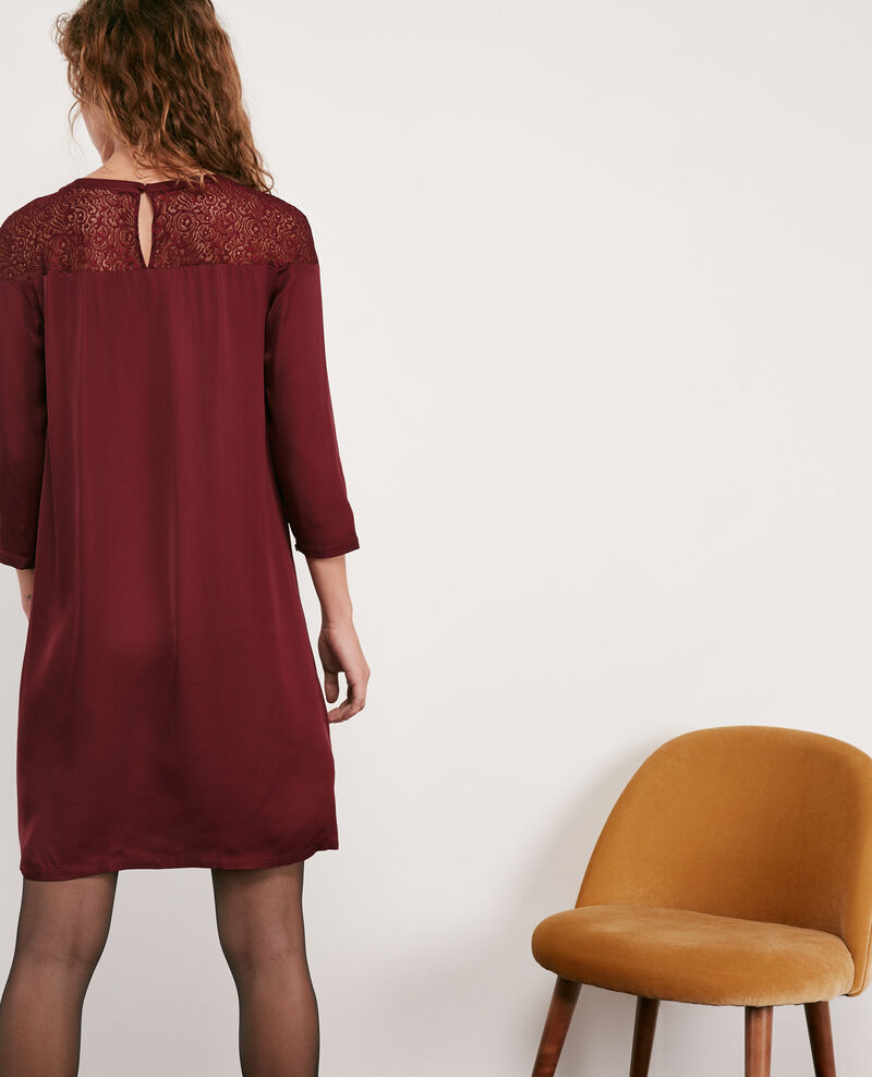 Satin and lace dress Burgundy Datillon