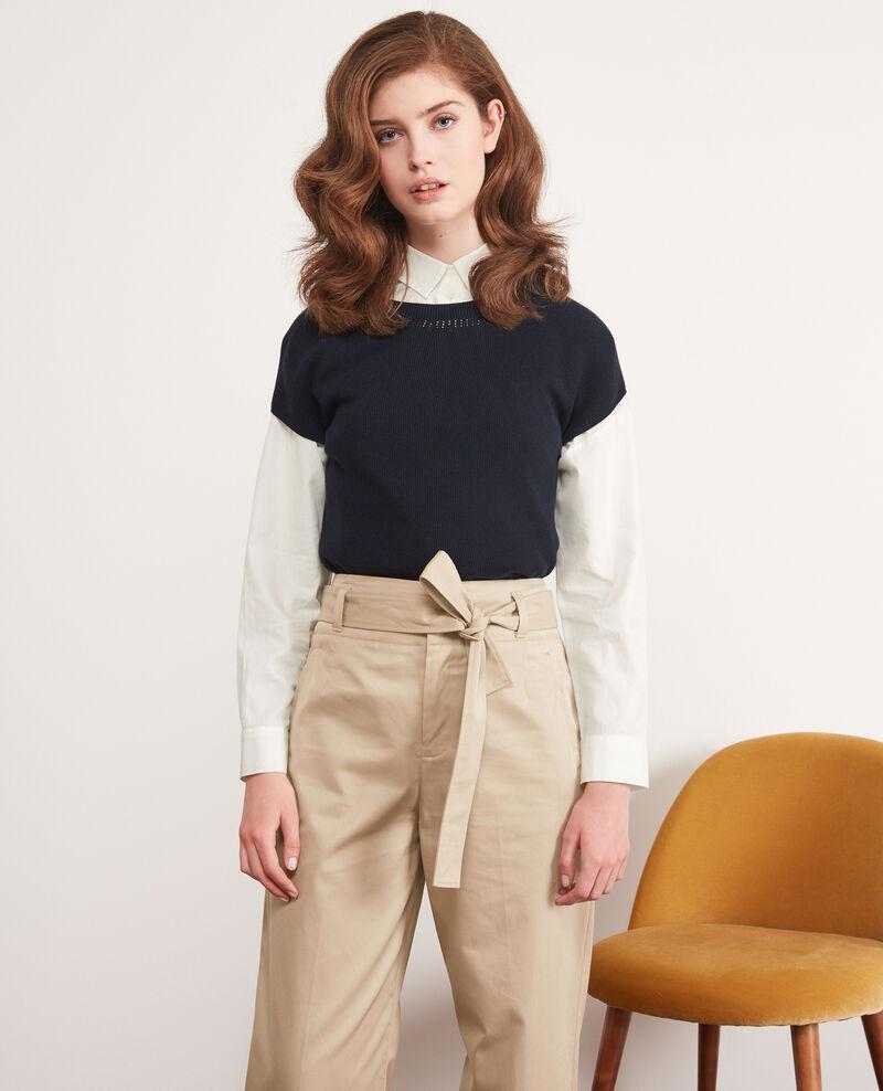 Seamless knitted short sleeve jumper Navy Dalande