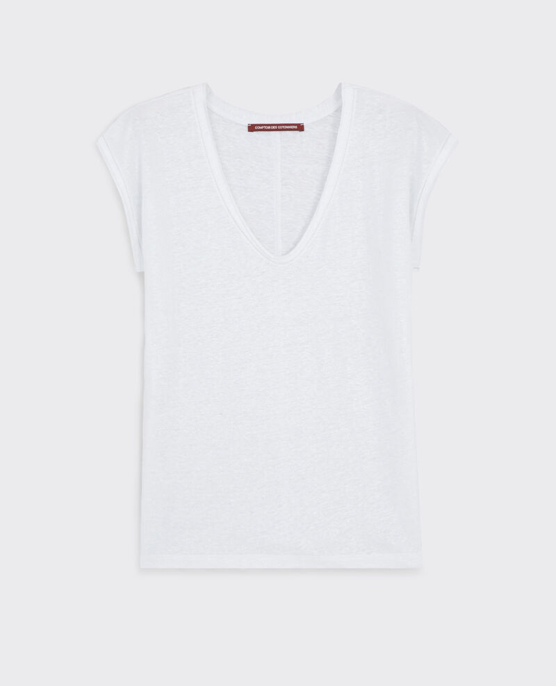 Iridescent linen t-shirt Blanc Citron